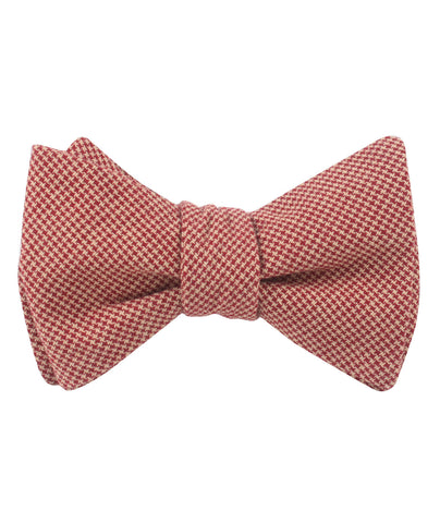 Khaki Red Houndstooth Blend Self Bow Tie