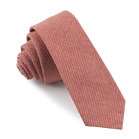 Khaki Red Houndstooth Blend Skinny Tie