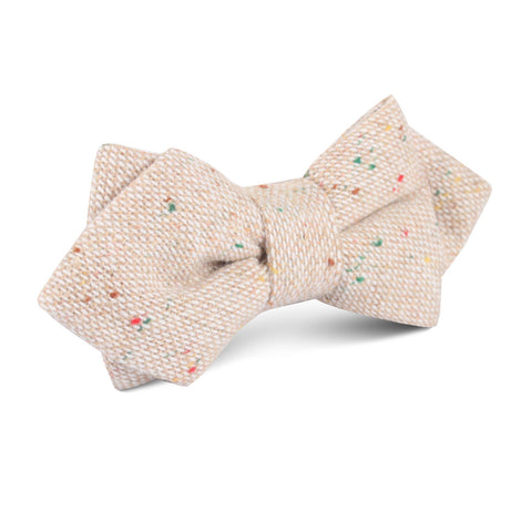 Khaki Sharkskin Diamond Bow Tie
