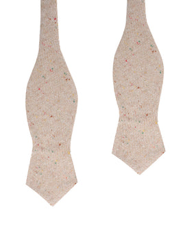 Khaki Sharkskin Diamond Self Bow Tie