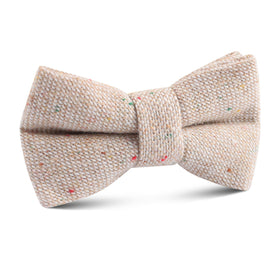 Khaki Sharkskin Kids Bow Tie