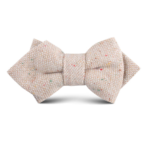 Khaki Sharkskin Kids Diamond Bow Tie
