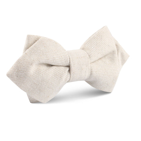 Khaki Twill Stripe Linen Diamond Bow Tie