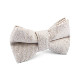 Khaki Twill Stripe Linen Kids Bow Tie
