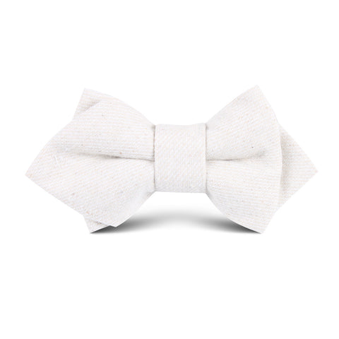 Khaki Twill Stripe Linen Kids Diamond Bow Tie