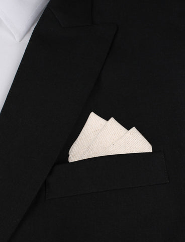 Khaki Twill Stripe Linen Pocket Square