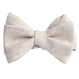 Khaki Twill Stripe Linen Self Tie Bow Tie 1