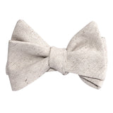 Khaki Twill Stripe Linen Self Tie Bow Tie 2