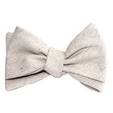 Khaki Twill Stripe Linen Self Tie Bow Tie 3