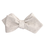 Khaki Twill Stripe Linen Self Tie Diamond Tip Bow Tie 2