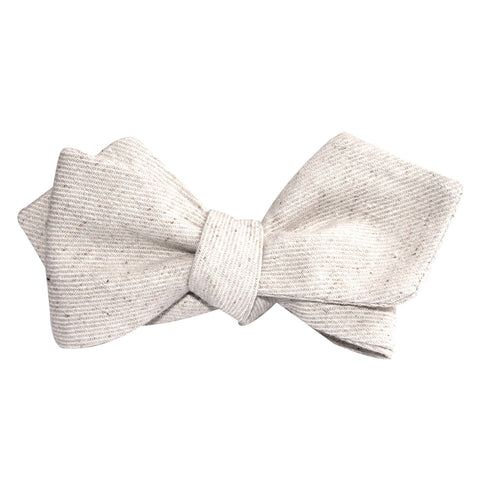 Khaki Twill Stripe Linen Self Tie Diamond Tip Bow Tie