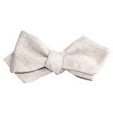 Khaki Twill Stripe Linen Self Tie Diamond Tip Bow Tie 3