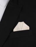 Khaki Twill Stripe Linen Winged Puff Pocket Square Fold