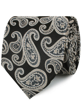 King of Persia Black Paisley Necktie
