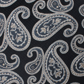 King of Persia Black Paisley Pocket Square