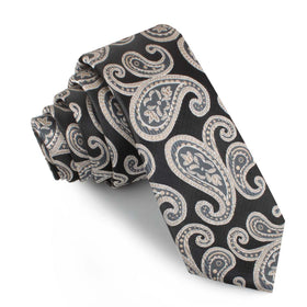 King of Persia Black Paisley Skinny Tie