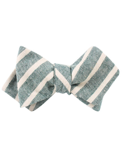 Konya Chalk Stripe Green Linen Diamond Self Bow Tie