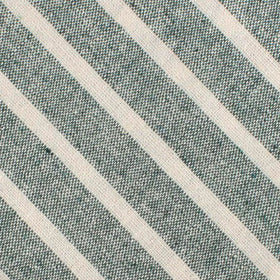 Konya Chalk Stripe Green Linen Bow Tie