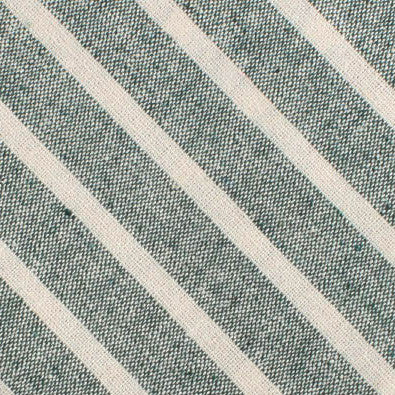 Konya Chalk Stripe Green Linen Diamond Bow Tie