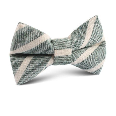 Konya Chalk Stripe Green Linen Kids Bow Tie