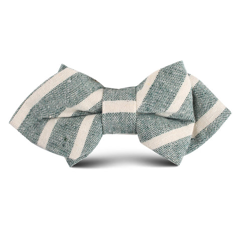 Konya Chalk Stripe Green Linen Kids Diamond Bow Tie