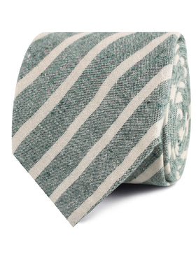 Konya Chalk Stripe Green Linen Tie