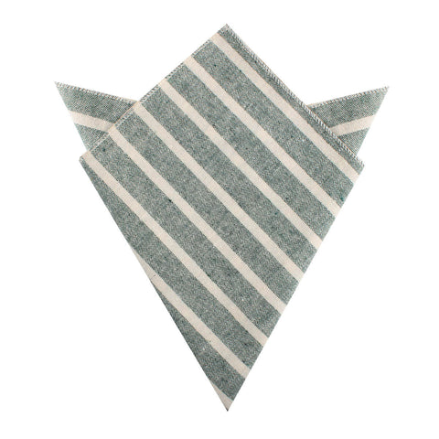 Konya Chalk Stripe Green Linen Pocket Square