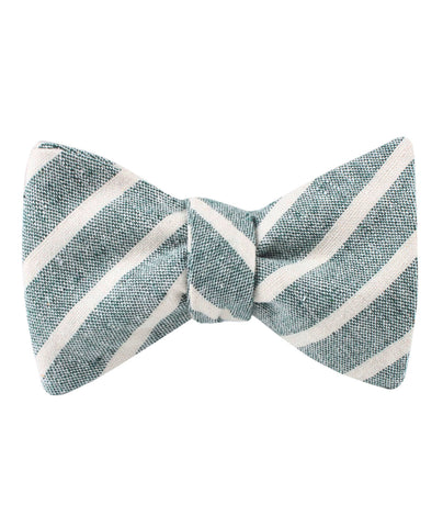 Konya Chalk Stripe Green Linen Self Bow Tie