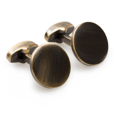 L'Avventura Antique Brass Circle Cufflinks