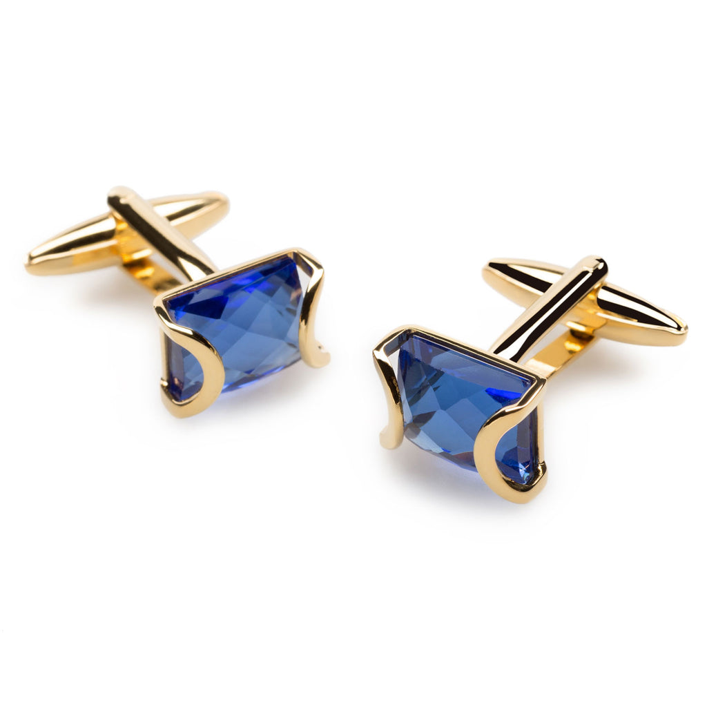 La Digue Crystal Gold Cufflinks
