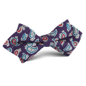 Lago di Bolsena Purple Paisley Diamond Bow Tie