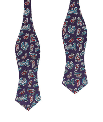 Lago di Bolsena Purple Paisley Diamond Self Bow Tie