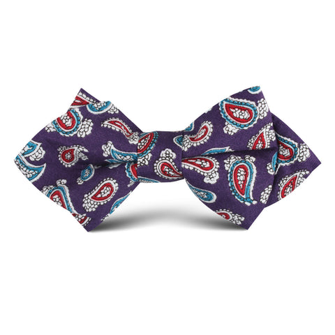 Lago di Bolsena Purple Paisley Kids Diamond Bow Tie