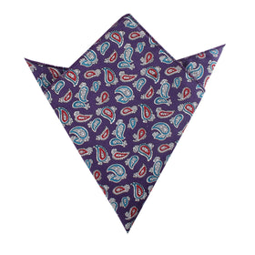 Lago di Bolsena Purple Paisley Pocket Square