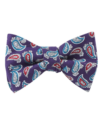 Lago di Bolsena Purple Paisley Self Bow Tie