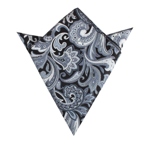 Lampedusa Black & Grey Paisley Pocket Square