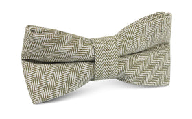 Laurel Green Herringbone Linen Bow Tie