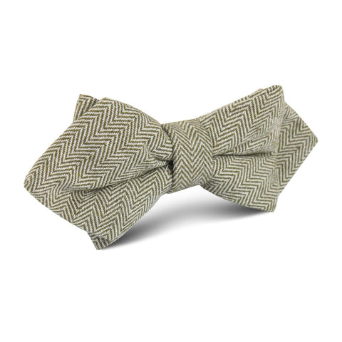 Laurel Green Herringbone Linen Diamond Bow Tie