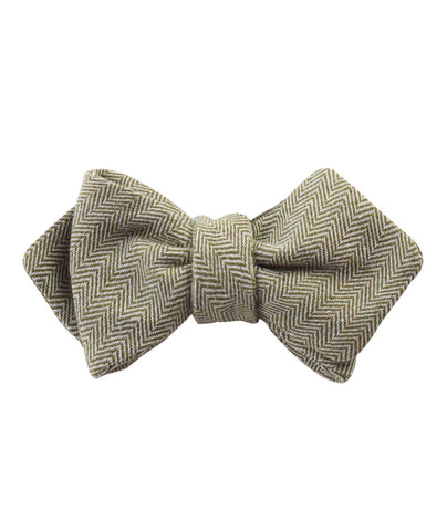 Laurel Green Herringbone Linen Diamond Self Bow Tie