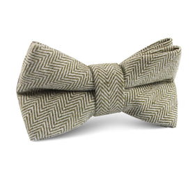 Laurel Green Herringbone Linen Kids Bow Tie