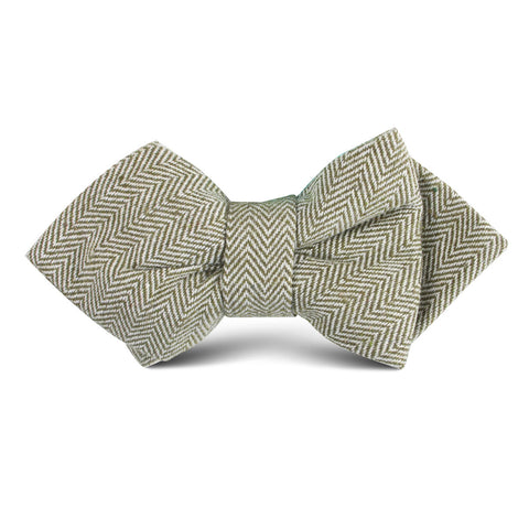 Laurel Green Herringbone Linen Kids Diamond Bow Tie