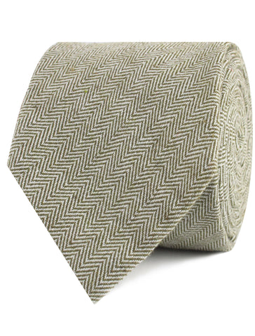 Laurel Green Herringbone Linen Tie