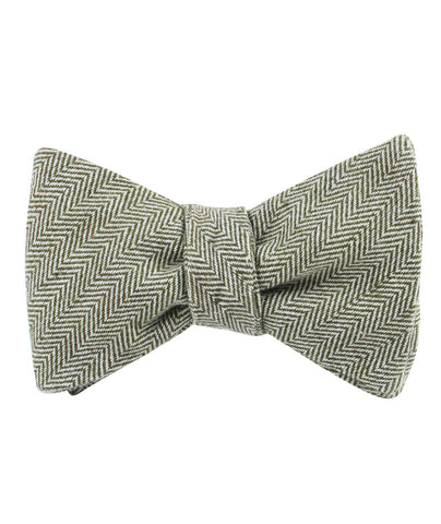Laurel Green Herringbone Linen Self Bow Tie