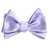 Lavender Purple Satin Self Tie Bow Tie 3