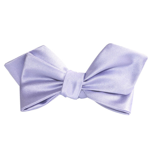Lavender Purple Satin Self Tie Diamond Tip Bow Tie