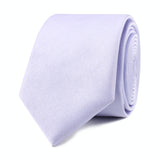 Lavender Purple Satin Skinny Tie Front Roll