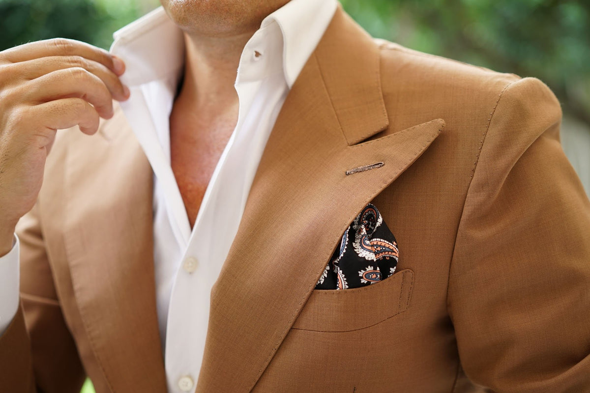 Levanzo Coral Paisley Pocket Square