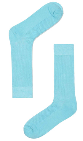 Light Blue Cotton-Blend Socks
