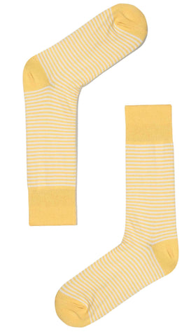 Light Yellow & White Thin Pinstripes Cotton-Blend Socks