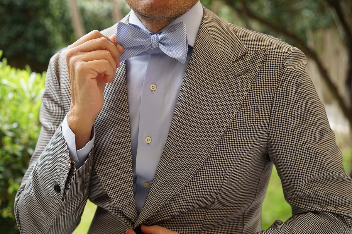 Light Blue Gingham Cotton Self Tie Bow Tie